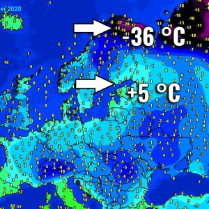 An extreme 40+ degrees temperature difference over Scandinavia – around +5 °c in south Finland vs below -35 °C in Lapland