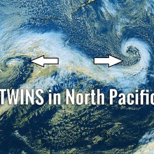The day after tomorrow? Not really, but we have twins – two spectacular deep cyclones over the North Pacific today