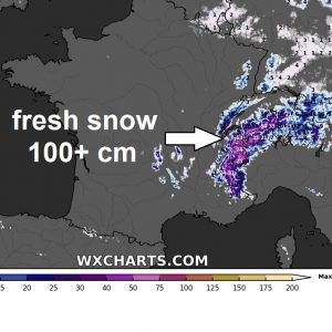 A short winter touch across parts of east-central Europe until Thursday, also more than a meter (100+ cm) of fresh snow over the western Alps
