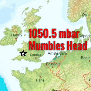 Atmospheric pressure peaked at 1050.5 mbar in Mumbles Head, Wales early this morning. Around 1050 mbar now over Benelux, the upper 1040s in central Europe and rising