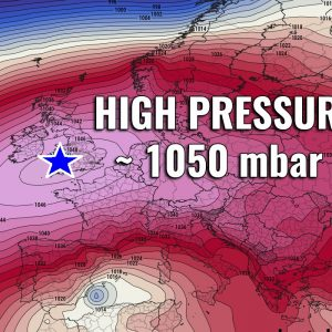 An *EXTREMELY HIGH* surface pressure develops over Europe through Sunday and Monday – 1048-1050 mbar will be possible in some areas!