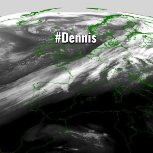 Extra-tropical storm #Dennis in its final stage, moving towards Scandinavia while gradually weakening