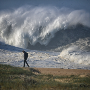 Spectacular imagery of the giant waves in Praia do Norte, Nazare, Portugal during North Atlantic storm #Dennis last week