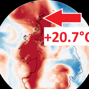 *BREAKING* The Antarctic region has measured an incredible new absolute temperature record of +20.7°C (69.35°F), as an abnormally warm airmass moves over the Antarctic peninsula!