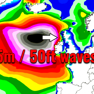 Significant 15-meter / 50-feet waves across the North Atlantic – spreading towards the UK and Ireland tonight!