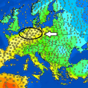 A very  warm airmass spreads across parts Benelux, Germany, Poland, and the Alps tonight, pushing night time temperatures close to +20 °C