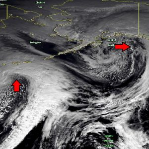 Spectacular tandem of twins – two cyclones over the North Pacific today, Feb 12th
