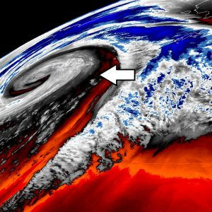 The perfect storm – monster extra-tropical cyclone over the North Pacific today