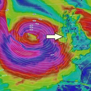 A new deep low-pressure system brings severe winds into England, Ireland, Wales and Bay of Biscay through Wednesday night, also some fresh snow across northern England and Scotland