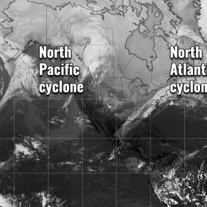 Day after tomorrow? No, but we are facing two impressive extra-tropical cyclones right now – one over the North Pacific and another over the North Atlantic