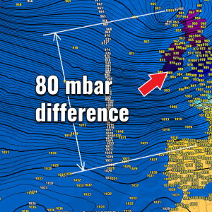 LIVE: Severe windstorm #CIARA spreading across the UK and Ireland – near 80 mbar pressure difference between Scotland and Spain