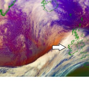 *Update* on the low-pressure system moving across the Ireland and UK this morning