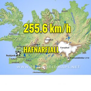 A remarkable near-record wind gusts reported at Hafnarfjall station, Iceland today – 255 km/h!