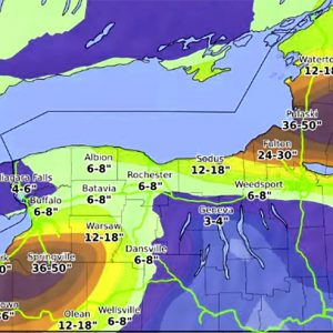 Extremely dangerous lake-effect snowfall with up to 4 feet (120 cm) of snow is expected across the Tug Hill Plateau, New York state (USA) until Saturday
