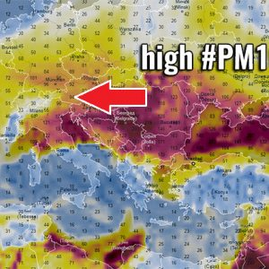 Very *high* values of dangerous Particulate Matter (#PM10) air pollutants across Europe this weekend
