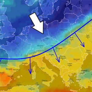 A much colder air mass is now spreading across Europe – cold outbreak will intensify across east-central Europe through Monday and Tuesday