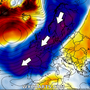 An Arctic outbreak likely to blast into western Europe next weekend (end of March)