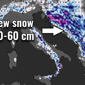 Winter is back to the Balkans – a huge amount of snow is expected in some areas until Thursday, hurricane-force Bora along the Adriatic coast