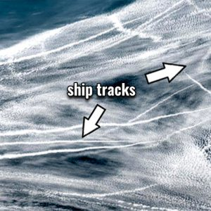 Spectacular ship tracks visible in the marine layer over the North Pacific today, Apr 3rd