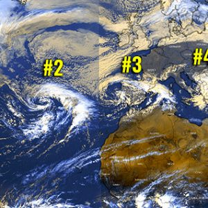 An exceptional satellite presentation of five frontal systems simultaneously ongoing across North Atlantic and southern Europe today, Apr 1st