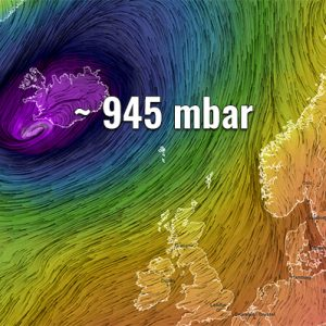A deep extratropical cyclone brings intense snow blizzard and violent winds into Iceland tomorrow – Sunday, Apr 5th