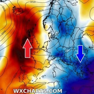 Dipole pattern over Europe continues – stable and warm to the west, dynamic and cooler to the east
