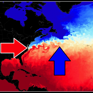 *North Atlantic* The Gulf Stream cools unusually, as low-pressure systems bring colder air out of North America, impacting the ocean current