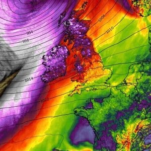 An intense low pressure will develop a windstorm into Scotland and Ireland on Friday