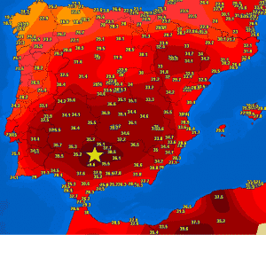 Temperatures in southern Spain are again near 40 °C