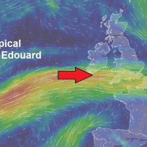 Ex-tropical storm Edouard on its way towards Ireland and England tomorrow