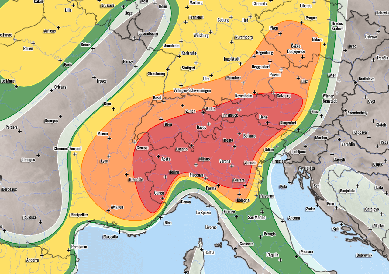 Severe weather forecast for Europe August 28th 2020