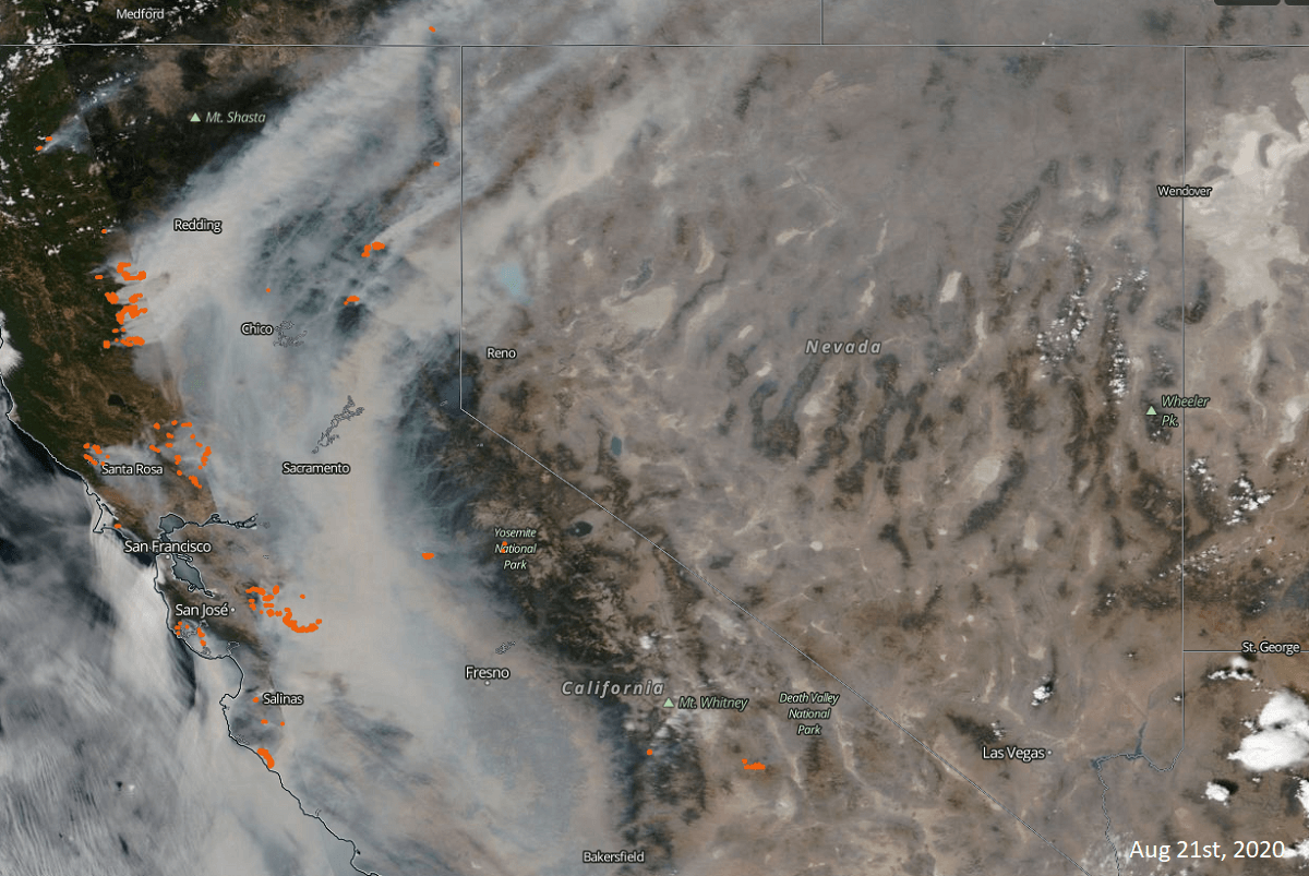 california wildfires smoke cloud