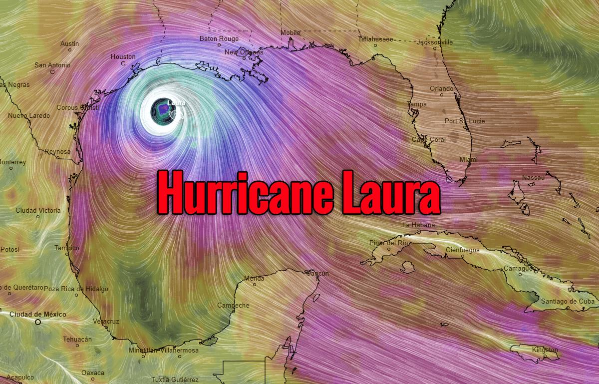 hurricane laura landfall wind forecast Thursday