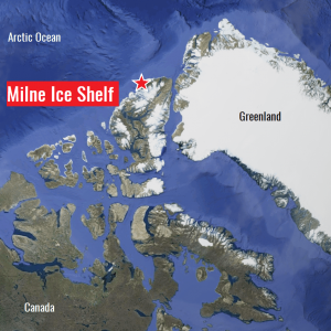 Milne ice shelf collapse in Canada – nearly 80 sq kilometers of ice drifts into the Arctic Ocean