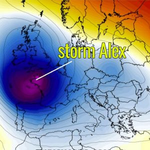 An intense storm Alex is now forecast to strike Brittany and England with severe damaging winds this Friday