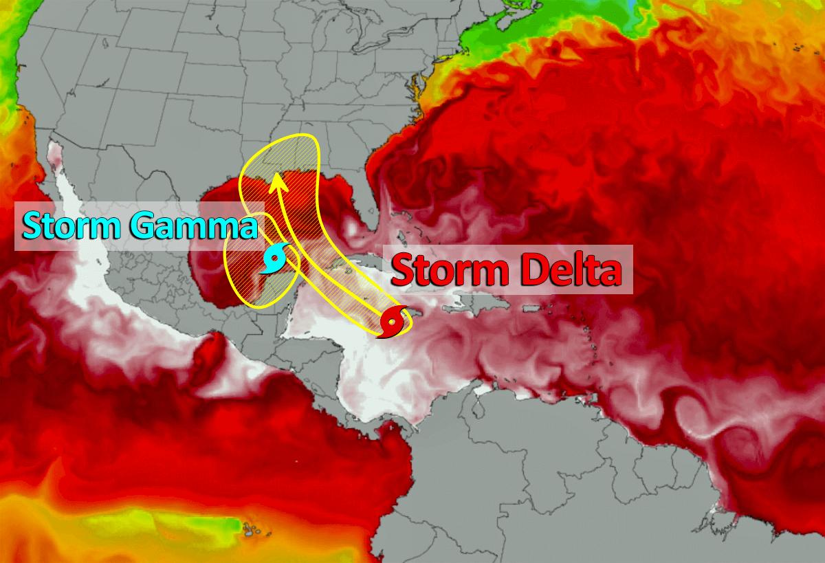 Atlantic hurricane season storm gamma delta