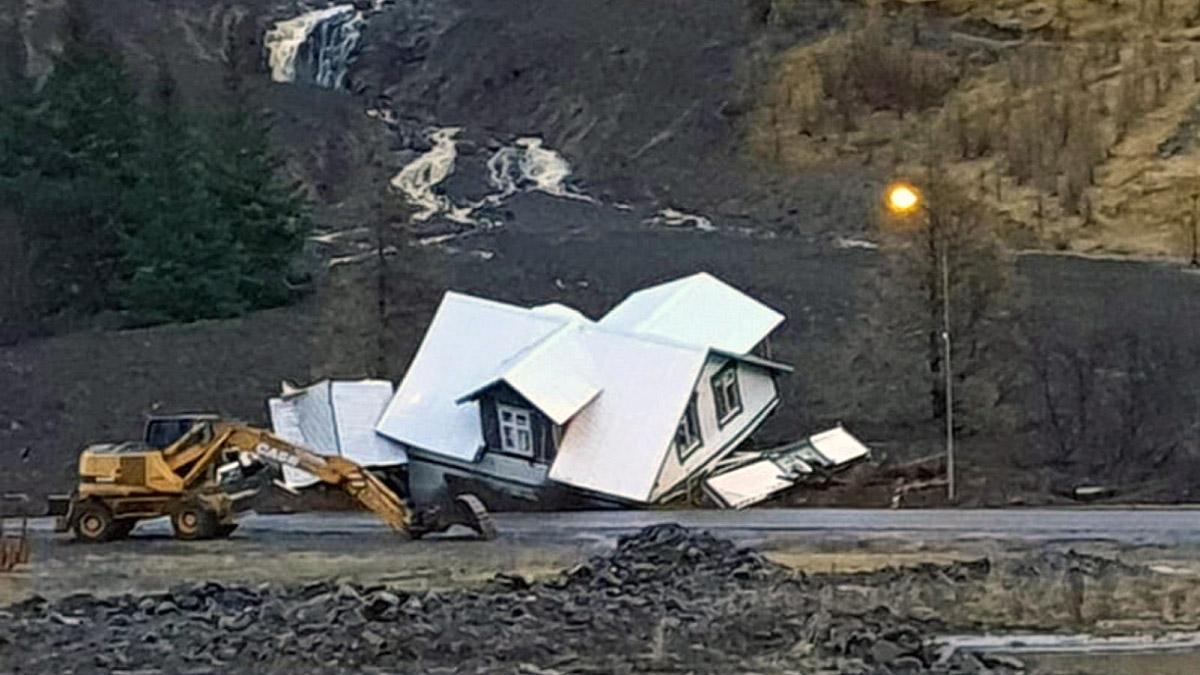 extreme rain iceland landslide