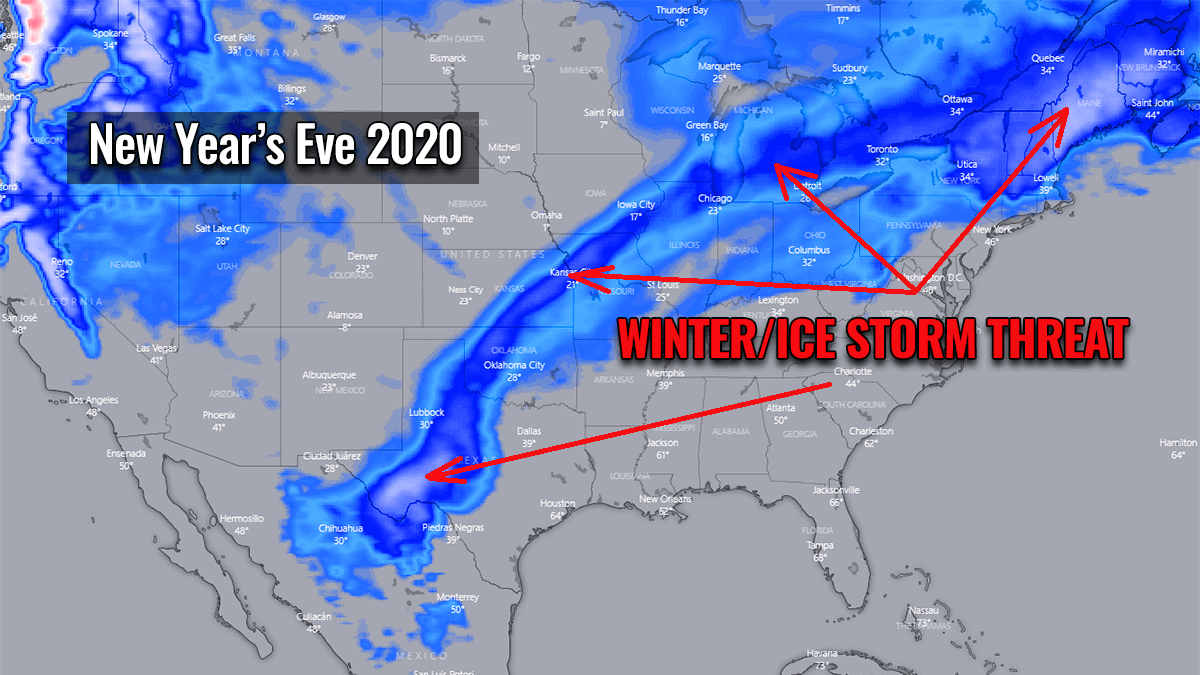 ice winter storm snow forecast united states threat