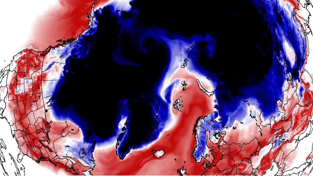 arctic circle unusual temperature warm wave forecast january 2021