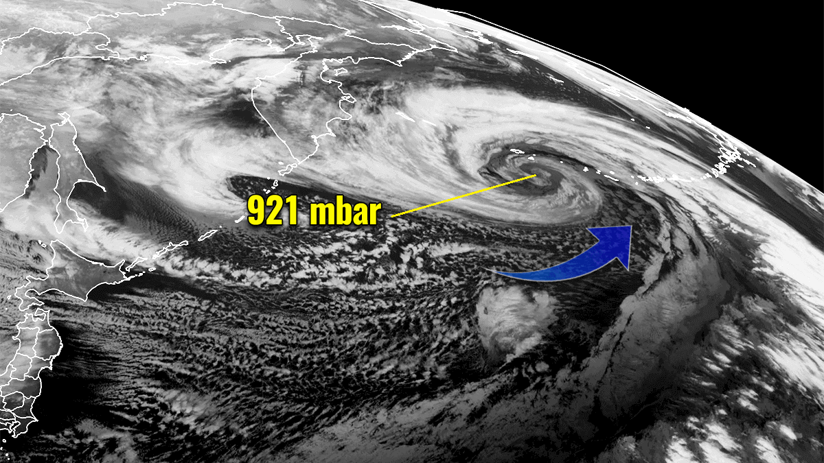 record extratropical storm bomb cyclone alaska pacific