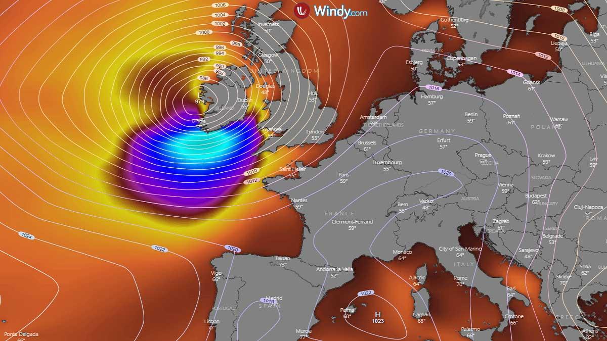north atlantic storm windstorm ireland waves chart