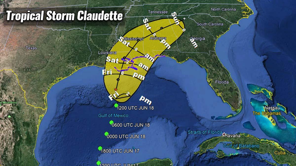 hurricane season 2021 gulf tropical storm claudette