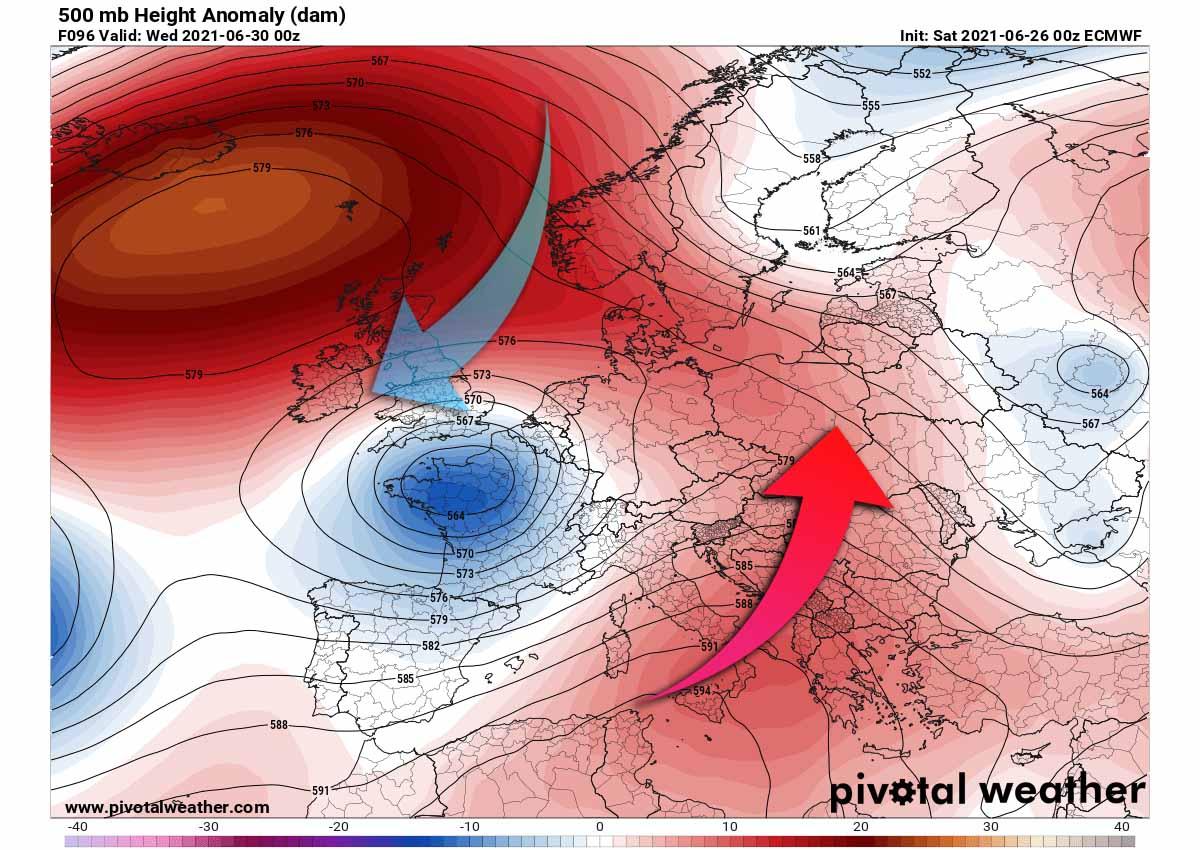 strong heatwave summer forecast 2021 end of june pattern