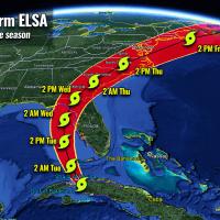 atlantic hurricane season 2021 tropical storm elsa landfall florida