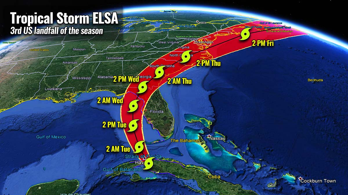 atlantic hurricane season 2021 tropical storm elsa landfall florida path