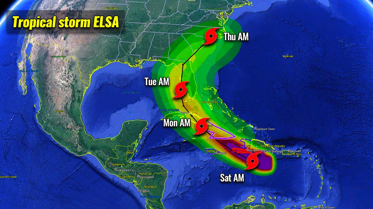 atlantic hurricane season 2021 tropical storm elsa landfall florida united states potential track