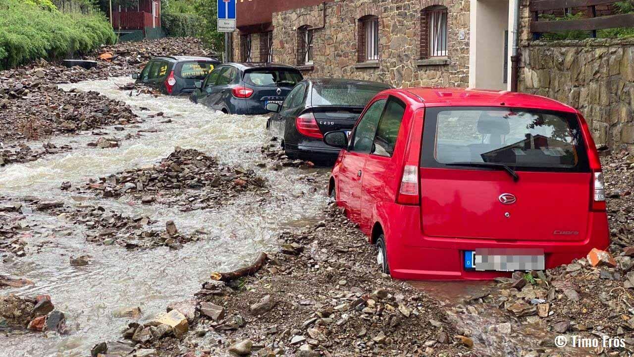 destructive flooding germany belgium cars