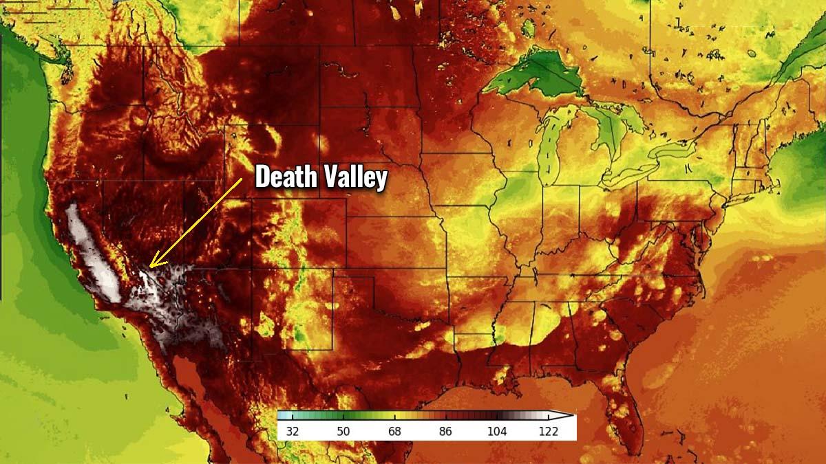 heat dome record breaking heatwave death valley california