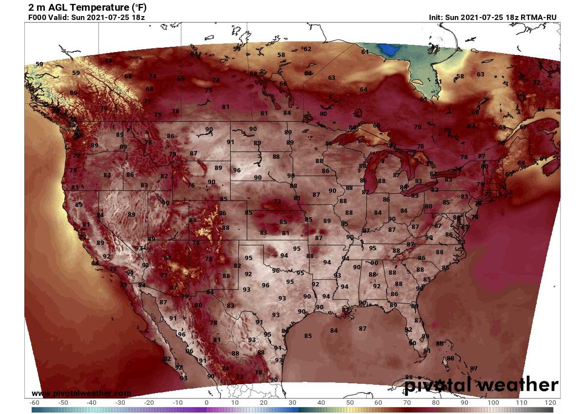 heatwave united states heat dome forecast Sunday tempeatures