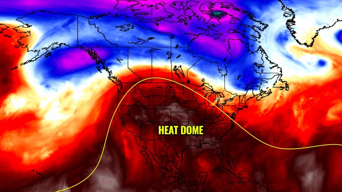 heatwave united states heat dome forecast map